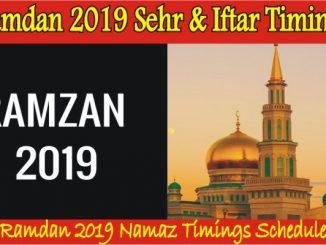 Ramadan 2019 Sehr and Iftar Timings - Ramadan 2019 Calendar