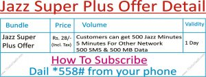 How to Activate Jazz Super Plus Offer