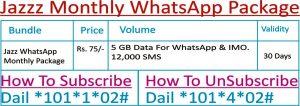 Jazz Monthly WhatsApp Package Sub Code