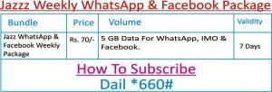 Jazz Weekly WhatsApp & Facebook Package Sub Code