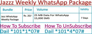 Jazz Weekly WhatsApp Package Sub Code