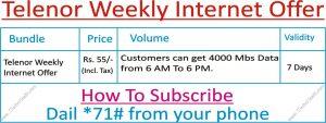 telenor weekly package