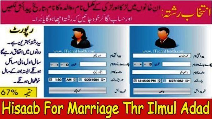 Shadi ka Hisab By Name, Hisaab For Marriage Through ilmul adad
