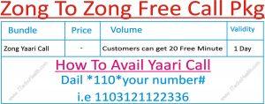 Zong To Zong Free Calls
